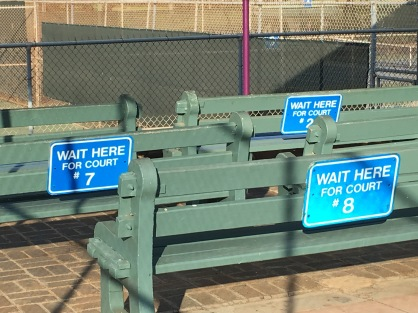 Court waiting benches, Diamond Head Tennis Court, Honolulu, Hawaii