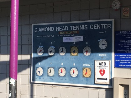 Court time keepers, Diamond Head Tennis Court, Honolulu, Hawaii