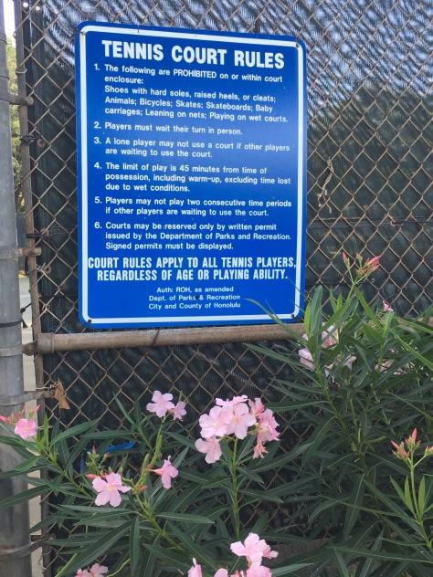 Tennis court rules, Diamond Head Tennis Court, Honolulu, Hawaii