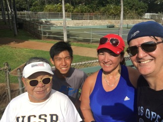 Our tennis friends, mixed doubles, Diamond Head Tennis Court, Honolulu, Hawaii