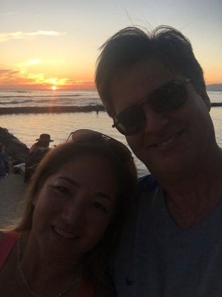 selfie, Waikiki beach, Sunset, Honolulu, Hawai