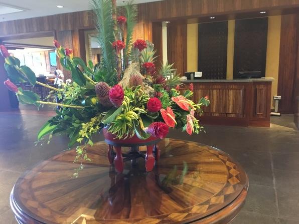 Beautiful floral arrangement, entrance of, The Ritz Carlton Kapalua, Maui, Hawaii