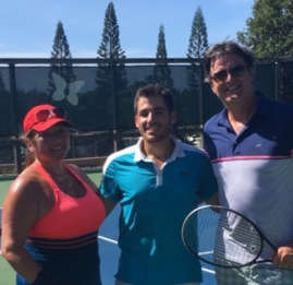 Our tennis drill at Kapalua Tennis Garden, with Nick!